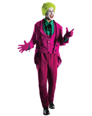 man wearing a classic 1960 joker costume