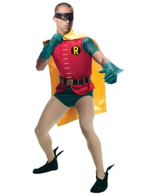 man wearing a classic robin costume for halloween