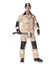 Tan Firefighter Adult Mens Plus Size Costume