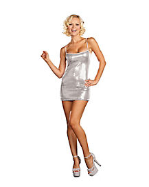 Silver Sequin Adult Womens Dress