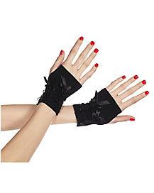 Black Satin Lace Fingerless Gloves