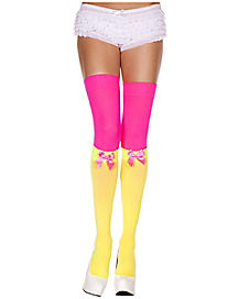 Yellow Pink Adult Thigh High Knee Highs