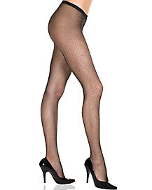 Black Silver Fishnets Adult Pantyhose