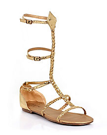 Womens Gold Braid Rope Sandal