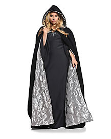 Adult Silver and Black Cape - Deluxe