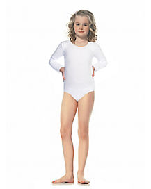 Long Sleeve White Leotard Child Costume