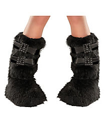 Black Buckle Fur Boot Covers