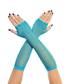 Neon Blue Fishnet Arm Warmers