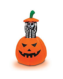 Pop-Up Skeleton Pumpkin Airblown Inflatable