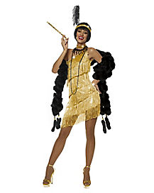 Adult Gold Dazzling Flapper Costume