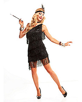 Adult Black Dazzling Flapper Costume