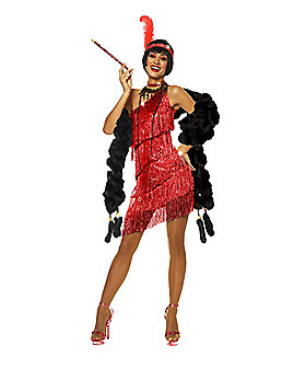 Adult Dazzling Red Flapper Costume