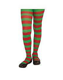 Kids Green and Red Striped Tights