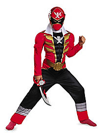 Kids Muscle Red Power Ranger Costume - Power Rangers Super Megaforce