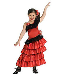 Kids Red Spanish Princess Costume