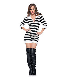 Adult Jail Bird Romper Convict Costume