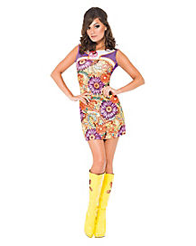 Adult Peace and Love 60s Dress Costume