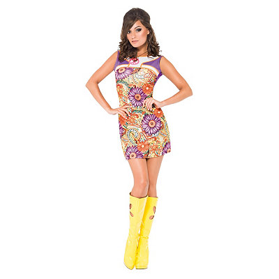 Vintage Inspired Halloween Costumes Adult Peace and Love 60s Dress Costume $34.99 AT vintagedancer.com