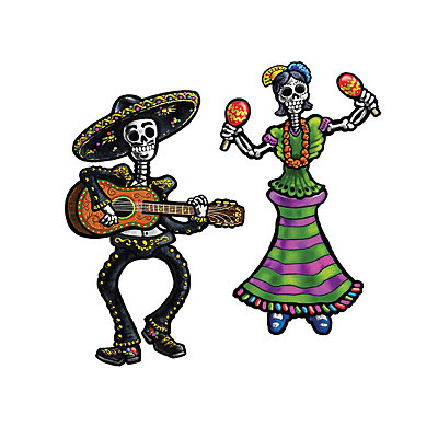 14'' Day of the Dead Male & Female Sugar Skull Skeletons