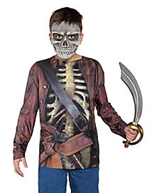 Kids Top and Mask Skull Pirate Costume