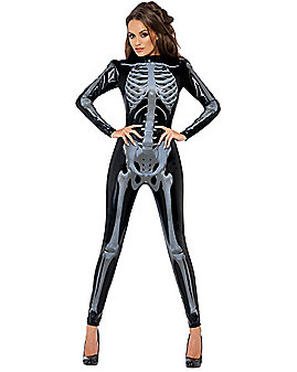 Skeleton Catsuit Womens Costume
