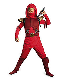 Kids Red Fire Ninja Costume - Deluxe