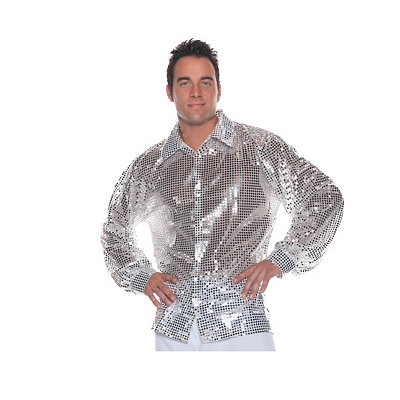 1960s Style Men's Clothing, 70s Men's Fashion Adult Silver Sequin Shirt Costume $19.99 AT vintagedancer.com