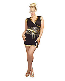 Adult Black and Gold Geisha Plus Size Costume
