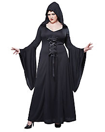 Adult Black Hooded Robe Witch Plus Size Costume