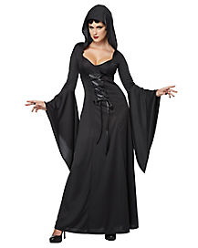 Adult Black Hooded Robe Witch Costume - Deluxe