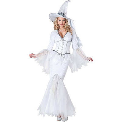 Adult Womens White Magic Witch Costume Theatrical