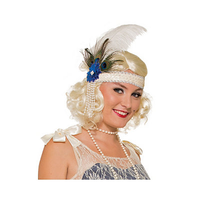 1920s Flapper Headbands White Peacock Flapper Headband $19.99 AT vintagedancer.com