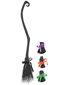 Witch Broom With Colored Bows
