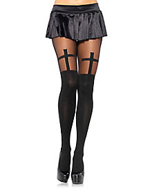 Cross Top Black Adult Tights