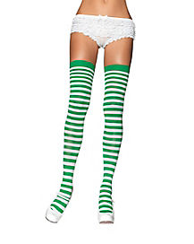 Green and White Striped Thigh High Stockings