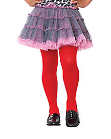 Girls Red Opaque Tights