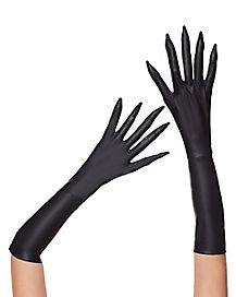 Long Fingered Black Gloves