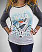 Frozen Olaf Warm Hugs Junior Fitted Raglan Tee