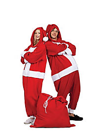 Adult Hooded Funsies Santa One-Piece Pajamas