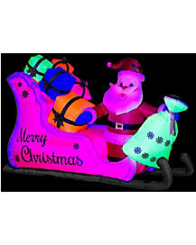 4.5 ft Neon Santa Sleigh Inflatable - Decoration
