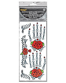 Day of the Dead Rose Arm Bone Tattoo