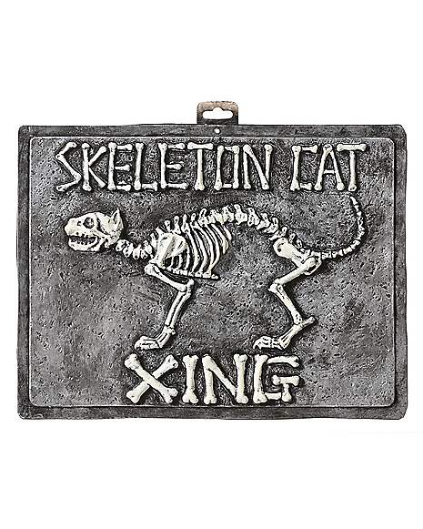Spirit Halloween Wall Decor : Inch skeleton cat crossing sign decorations