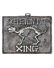 12 Inch Skeleton Cat Crossing Sign - Decorations