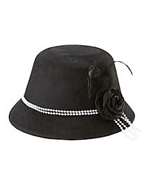 Black Cloche 20s Hat