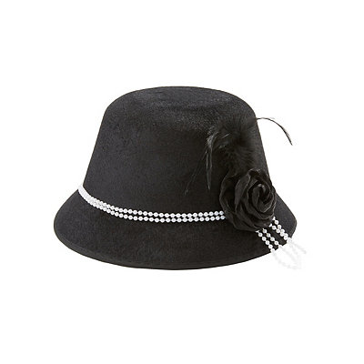 Vintage Inspired Halloween Costumes Black Cloche 20s Hat $12.99 AT vintagedancer.com