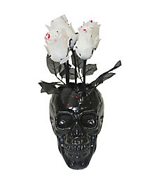 Skull Vase Wilting Roses - Decorations
