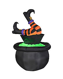 5 Ft Animated Witch Leg Cauldron Inflatable - Decorations