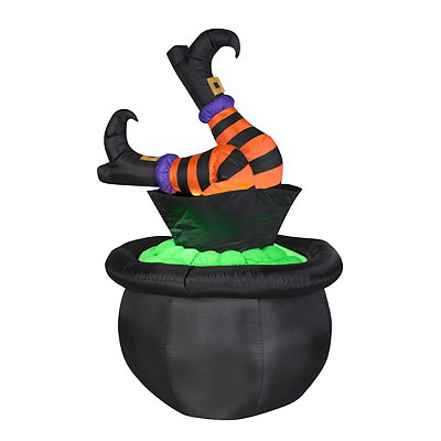 Animated Cauldron Witch Leg Inflatable