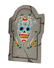22 Inch Day of the Dead Skull Tombstone - Decorations