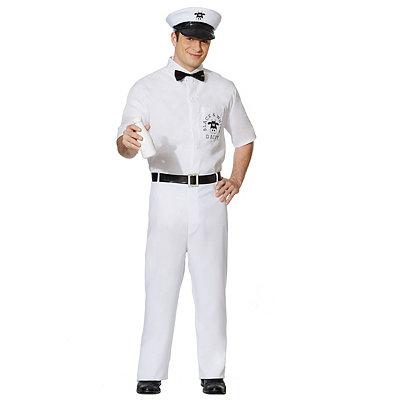 1950s Men's Costumes Adult Milkman Costume $39.99 AT vintagedancer.com